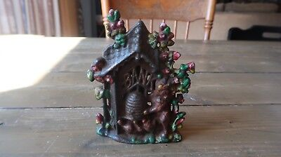 Antique Bear Honey Bee Hive Cast Iron Still Bank 5.25 x 4.25 inches