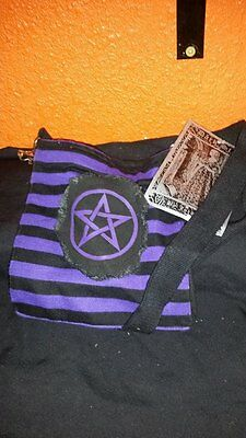 Dark Star Brand Small Pentacle Pentagram Purple and Black Striped Purse:Bag