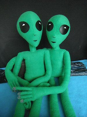 ALIEN DOLL, Handmade 3' GREEN ALIEN with total body wire armature for posing.