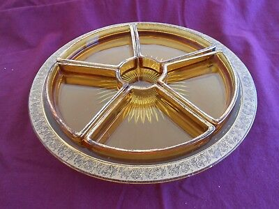1940's Vintage Amber Relish Dish with Gold Encrusted Roman Figures 5 Compartment