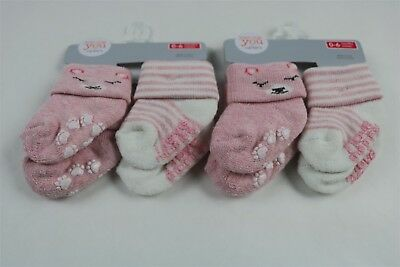 Lot of 4 Pairs CARTER'S Baby Girls Socks PINK/WHITE 0-6 Months NEW