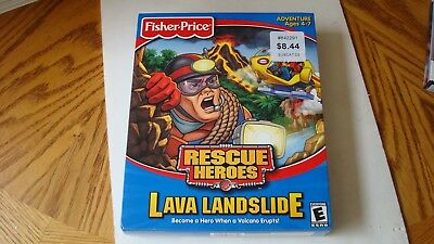 """Fisher Price Rescue Heroes """"Lava Landslide"""" CD-Rom 2002 Factory Sealed Rated E"""