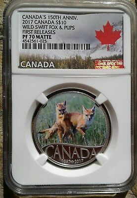 2017 $10 S. Canada 150Th Silver Proof Ngc Pf70 Wild Swift Fox & Pups 1St Release