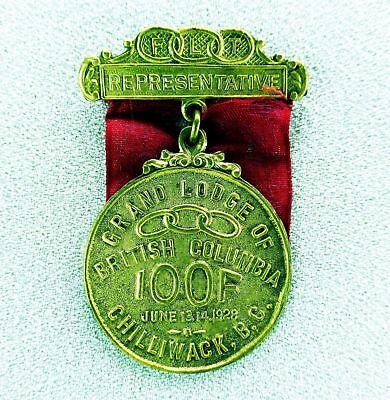 "Grand Lodge of BC IOOF 1928 FLT ODD Chilliwack BC ""Representative"" Vintage Medal"