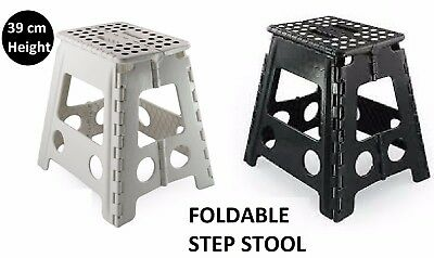 1X 39cm Folding Step Stool Portable  Kitchen Garage Foldable Carry Storage Chair