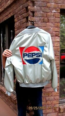Vintage Pepsi Lined Satin Jacket By Auburn Sportswear Size Large With Decal