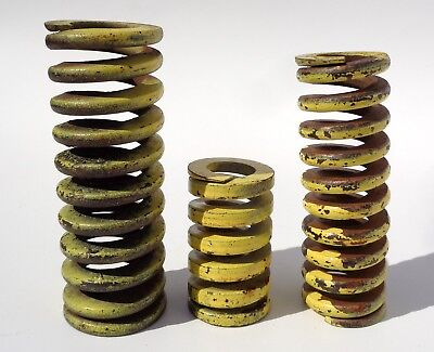 Vintage Heavy Duty Yellow Industrial Rusty Iron Coil Spring Steampunk Art Lot