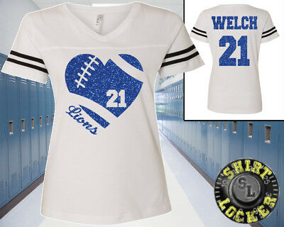 0ce1e3fc7 Custom Glitter Football Heart Team Name Womens Football Jersey Tee Spirit  Wear