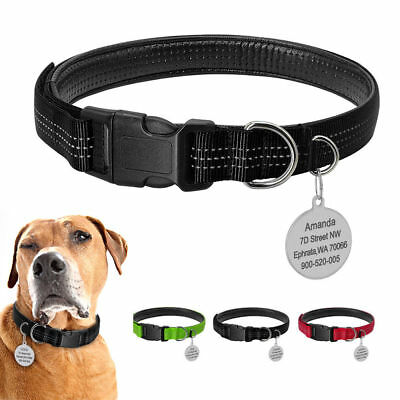 Reflective Pet Dog Collars & Tag Engraved Leather Padded for Medium Large Dogs