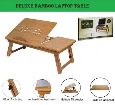 AU Portable Bamboo Laptop Notebook Desk Table Cooling Fan Mouse holder Tray Bed