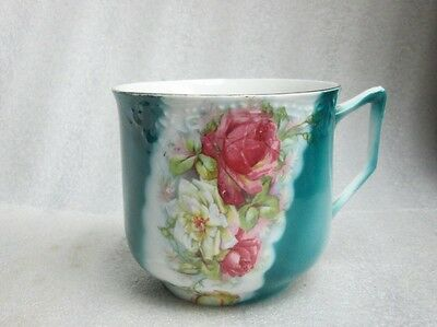 VINTAGE ANTIQUE ROSE & FLORAL TEAL MOUSTACHE CUP SIGNED GERMANY Collectible!