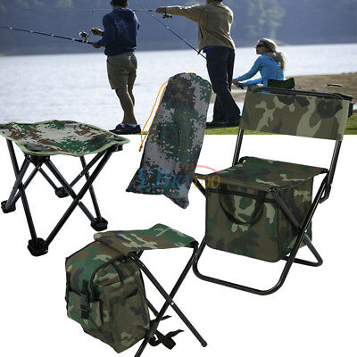Fishing W/ Packing Bag Backpack Camping Foldable Stool Seat Chair Camo SD