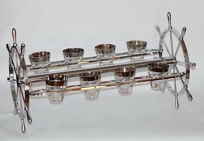 Vintage Barware Gyroscope Chrome-Plated Swivel Cocktail Serving Rack