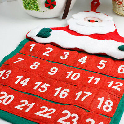 Stocking Santa Claus Christmas Advent Calendar Countdown Xmas Fabric Home Decor