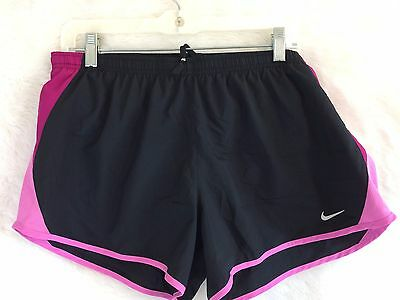 NIKE DRI-FIT Women's Athletic Running Built in Brief Shorts Black Plum Pink Sz L