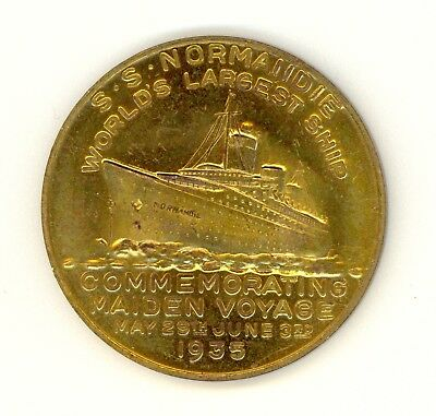 Ss Normandie Commemorative Coin Le Havre To New York 1935