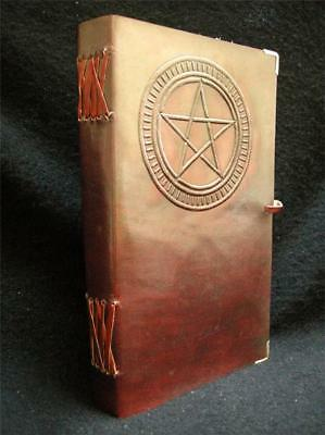 Pagan Wicca Handmade A5 Leather Journal Diary - Book of Shadows - PENTACLE