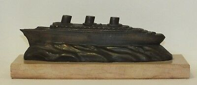 """ss Normandie"" Souvenir Cast Bronze Ship Sculpture On A Pink Marble Base"