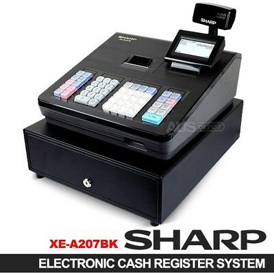 New SHARP XE-A207 Black Electronic Cash Register Dual Display & Thermal Printer