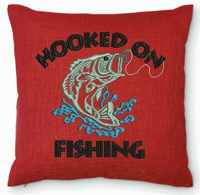 SALE Embroidered Hooked on Fishing Pillow