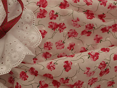 Beautiful Deep Pink Floral Clipped Spot Cotton Voile Fabric -140cm xper half-mtr
