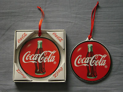 2 Enesco Coca-Cola Porcelain Disc Hanging Ornaments 1997