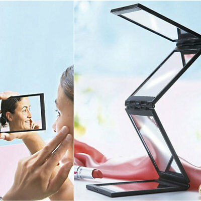 Wide Angle Mirror 4 Panel Foldable Compact Back Portable Stylish Travel Case New