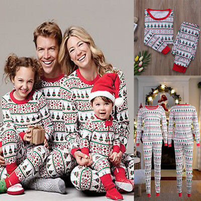 Family Matching Christmas Pajamas PJs Sets Xmas Sleepwear Nightwear Tops +Pants