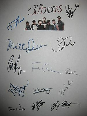 The outsiders signed movie script X13 Dillon Swayze Lowe Cruise Macchio reprint