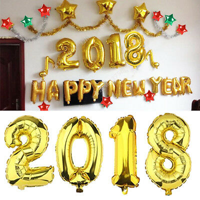 2018 Gold Aluminum Foil Balloon New Year Letter Events Festival Party Decor Tool