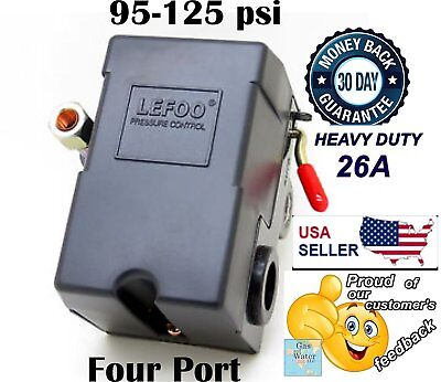 Lefoo Pressure Switch Control 90-125psi 4 Port Heavy Duty 26 Amp Air Compressor