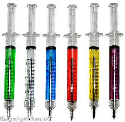 Syringe Shape Pens Cool Weird Gadget Nurse Vet Doctor Novelty Fun Gift Present