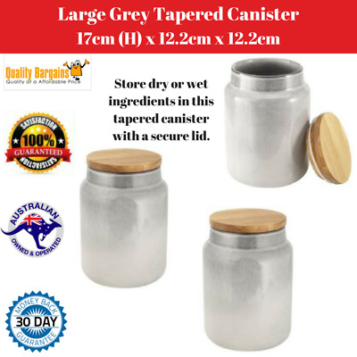 Large Grey Tapered Canister with Secure Lid Kitchen Food Storage Pot Jar Jam