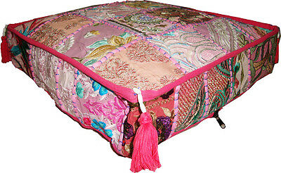 Vintage Sari Patch Work Floor Cushion Cover Ottoman Seat Wall Tapestry Hand Work