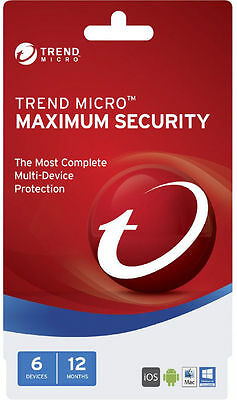 Trend Micro Maximum Security 2017 1-6 Devices 12 Months BRAND NEW SEALED