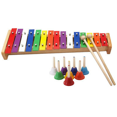 15 Tones Piano Toys with 8 Tones Handbells Hand Shake Jingle Bells for Kids