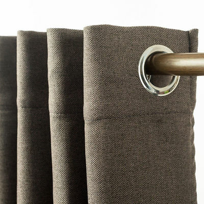 Eyelet Blackout Linen Looking Curtains Pure Fabric Blockout Textured 1pc/bag
