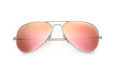 Ray Ban Aviator RB3025 019/Z2 Matte Silver Frame Copper Pink Flash Lens 58mm