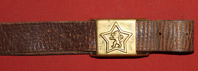 Vintage Bulgarian military leather belt with brass buckle