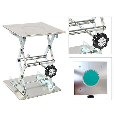 """Scissor Stand Platform Lab Jack 8""""x8"""" Lifting Plate 10"""" Height Stainless Steel"""