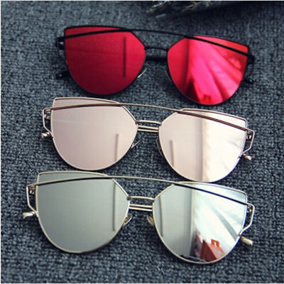 Vintage Women Metal Frame Mirrored Sunglasses Oversized Cat Eye Glasses Eyewear