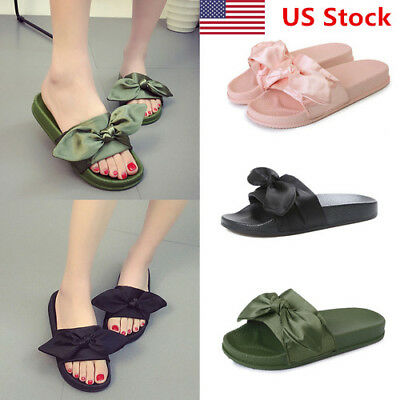 US New Womens Ladies Bow Sliders Sandals Flat Comfy Slides Slippers Satin Summer