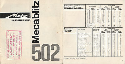 Instruction Booklet On How To Use The Mecablitz 502 Flash - Rare Undated Copy