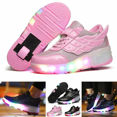 Cool Students LED RGB Lace Up Luminous Boys Girls Wings Heelys RollerSkate Shoes