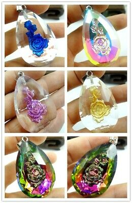 1PC/2PC/5PC Delicate glass Crystal printing Flower Water droplets Pendant Beads