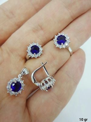 Turkish 925 Sterling Silver Handmade Jewelry Sapphire Ladie's Full Set
