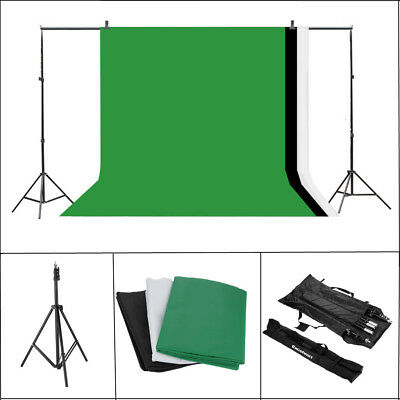 10x6ft Photography Photo Studio Background 3pc Backdrop Support Stand System Kit