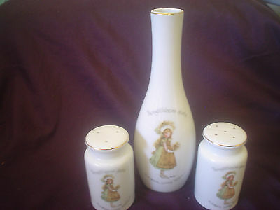 Holly Hobbie Salt & Pepper Shakers & Bud Vase Yellow Holly