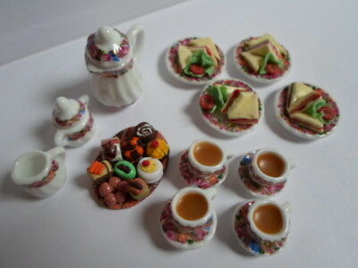 Dolls house Sylvanian Families food  afternoon tea for four.
