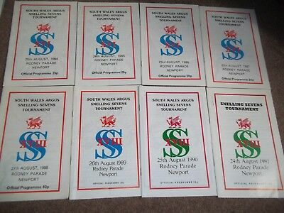 Rugby Union Snelling Sevens Programme Collection @ Newport 1984 - 1991